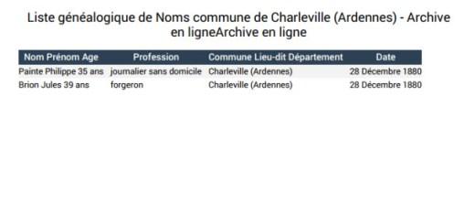 liste généalogique de noms commune de Charleville Ardennes