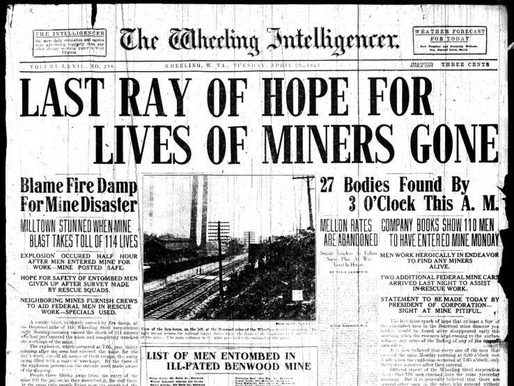 Front page of the Wheeling Intelligenger, April 28th, 1924.