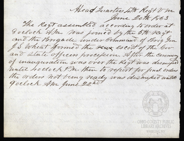 Regimental Records and Orders journal entry from June 20, 1863, written by Col. A.J. Sweeney. OCPL Archives.