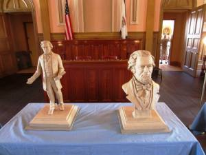A pair of maquettes by sculptor Gareth Curtiss of Montana, the artist who created the Pierpont statue, were revealed at West Virginia Independence Hall on June 20, 2013, the sesquicentennial of statehood.
