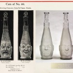 North Wheeling Glass Double-sided Bottle, Faces showing