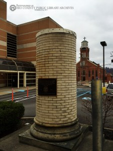 All that remains today of the Wheeling High School building is one of the original pillars, preserved in commemoration