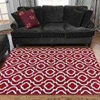 """Red and Ivory Contemporary Moroccan Trellis Design 8 by 10 Area Rug (7'10""""X9'10"""")"""