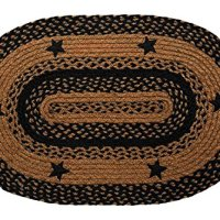 IHF Home Decor New Area Braided Rug Star Black Design Carpet Accent Oval Rugs 100% Jute Fiber 20 x 30 Inches