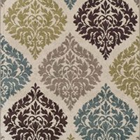 Super Area Rugs, Modern Transitional Damask Lanterns Rug, Ivory, 8ft. 2in. X 10ft.
