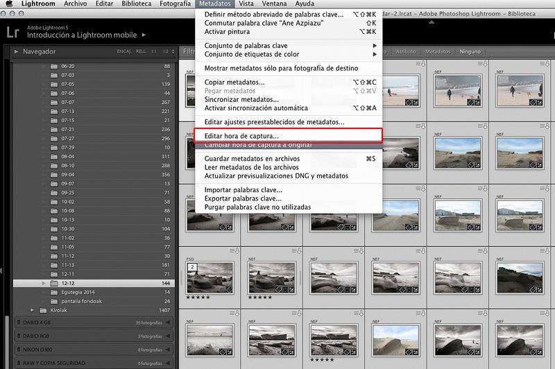 Editar hora de captura en las fotografías con Lightroom