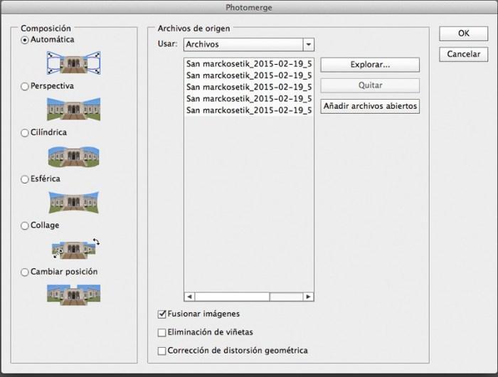 pantalla de photomerge en photoshop