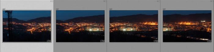 solapamiento de fotos panoramicas nocturnas