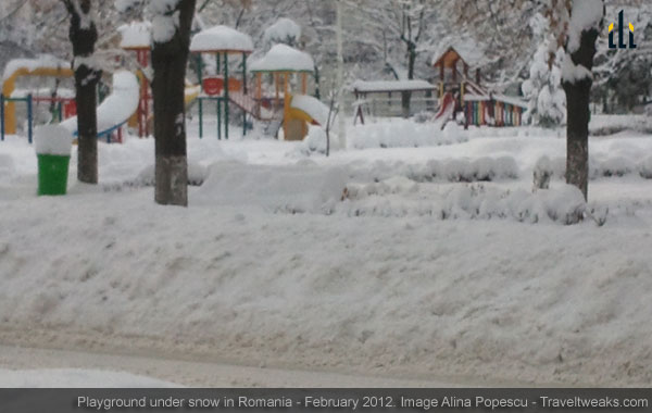 A playground under snow, in Pitesti, Romania - February 15, 2012.