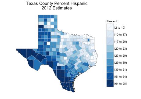 Texas County Percent Hispanic Estimates