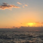 Sunrise departure from Lynyard Cay anchorage.