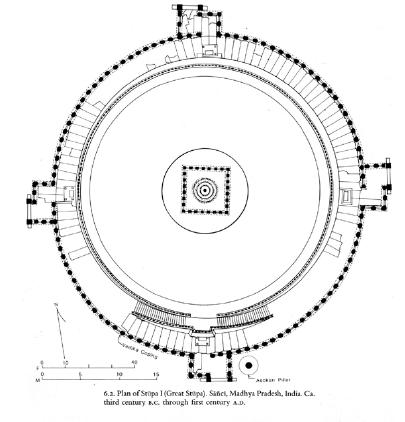 Plano elevado de la estupa de Sanchi.