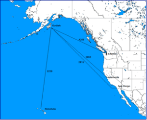 Distances from USCG cutter homeports to Kodiak, Alaska. (Source: U.S. Coast Pilot 8, Appendix II)