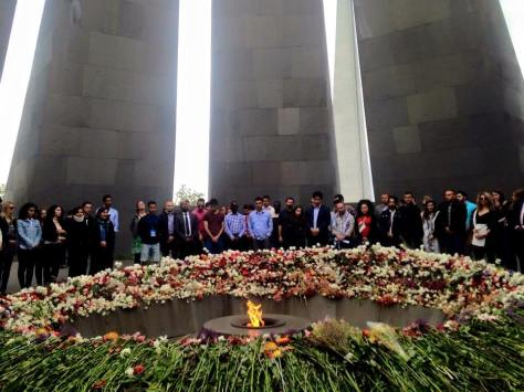 IUSY delegates paying their respects at the Armenian Genocide Memorial at Dzidernagapert (photo: Patil Aslanian)