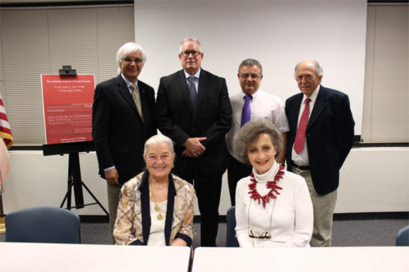( L-R) Top Row: Varoujan Der Simonian, Bill McEwen, Editorial Page Editor of the Fresno Bee, Dr. Garo Khachigian, Dr. Abraham Terian. Bottom Row: Mary Ellen Hewsen, Margit Hazarabedian, Ph.D.