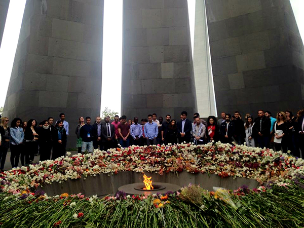 IUSY delegates paying their respects at the Armenian Genocide Memorial at Dzidernagapert. (Photo: Patil Aslanian)