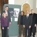 "(L-R) State Representative Jason Lewis (Middlesex 31), Governor's Council member Marily Pettito Devaney, State Representative Peter Koutoujian (Middlesex 10), photographer Levon Parian, State Representative Jon Hecht (Middlesex 29), ALMA curator Gary Lind-Sinanian, and Ara Nazarian at the ""iwintess"" exhibit"
