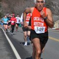 Tom Derderian, 62, struts his stuff during a 15-kilometer race earlier this month in Upton, Mass. (Ted Tyler photo)