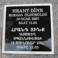"""Hrant Dink was murdered here, January 19, 2007, at 15:05"""