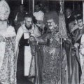 Cardinal Agagianian at the Mekhitarist Monastery in 1958, surrounded by elite clergy of his day, including Archbishop Mesrop Habozian, left, Abbott General of the Motherhouse.