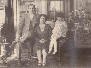 The playwright's grandparents and mother - Elmas Boyajian (called Victoria in the play) with her husband Harry and daughter Rose, Providence.  All three are characters in the play.