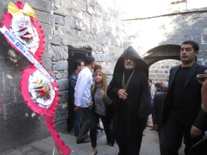 Acting Patriarch Ateshian arrives in Sourp Giragos church in Diyarbakir in Oct. 2012 to preside over its reconsecration. (Photo by Khatchig Mouradian)