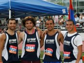 The Sarajian brothers of New Jersey formed their own relay team and softball infield at the 79th AYF Olympic Games in Boston. (L-R) Ara, Raffi, Garo, and Haig make this quartet a fearsome foursome. (Tom Vartabedian photo)