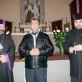 Freed political prisoner Vahagn Chakhalyan (center) visits Holy Etchmiadzin church in Tbilisi.