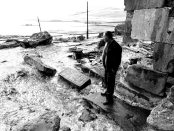 A local Armenian stands amid ruins of an Armenian church in Javakhk (Photo by Aaron Spagnolo, www.AaronSpagnolo.net)