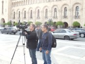 Bared Maronian while filming 'Orphans of the Genocide' in Yerevan
