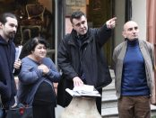 Serra Yilmaz, Writer-Director Eric Nazarian and actor Jacky Nercessian on the set of 'Bolis'
