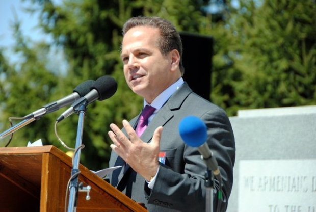 US Congressman David Cicilline speaking this past Sunday at the Armenian Martyrs Memorial at North Burial Grounds in Providence Martyrs' Memorial Committee Commemorates Genocide, Honors Educators