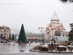Christmas tree on Renaissance Square in Stepanakert (Photo by Arevik Danielian, The Armenian Weekly)