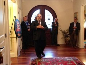ANCA Executive Director Aram Hamparian speaks at an ANC of Illinois fundraiser at the home of Dr. Khachig and Lena Ishkhan on Oct. 6.
