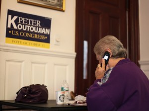 Barbara Baljian has devoted her time at the Koutoujian campaign's Watertown office. Today was her third day participating in the phone-bank. (Photo by Nanore Barsoumian)