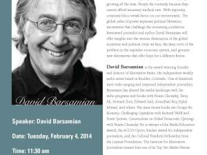 "David Barsamian will discuss ""The Global Economic Crisis"" at WSU on Feb. 4."
