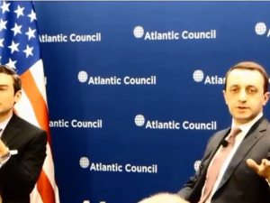 Georgia Prime Minister Irakli Garibashvili comments on the socio-economic development of Javakhk in response to an inquiry by ANCA Fellow Lilit Gasparyan at an Atlantic Council briefing.