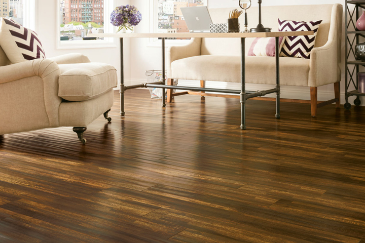 Armstrong Flooring Handscraped Laminate In The Living Room  L6623 Burnt Ombre