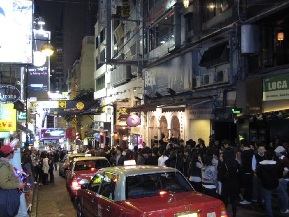 Wan Chai nightclub district in Hong Kong