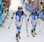 Josefina and Emelie finishing 5th at the SkiMountaineering World Championship