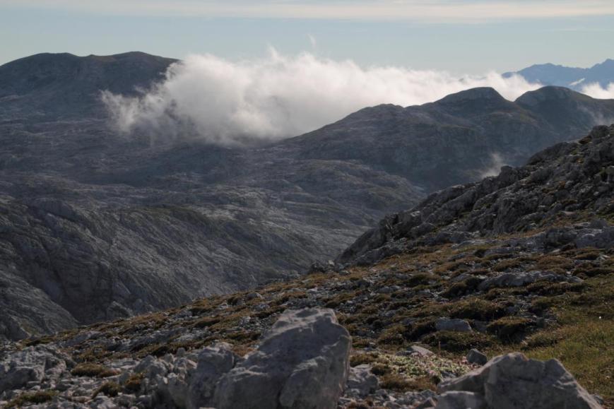 Der Nebel aus dem Tal zieht auf die Hochfläche