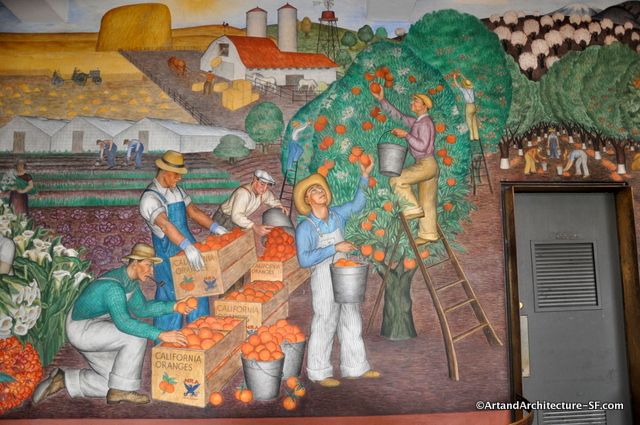 Maxine albro 39 s depiction of california 39 s bounty in coit tower for Coit tower mural artists