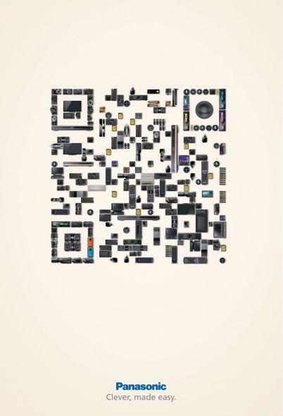 QR kódos hirdetés Panasonic módra | print nyomtatott anyagok kreativ friss friss  | reklám qr code print poster
