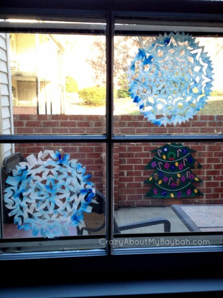 Coffee Filter Snowflakes - 25 Winter and Christmas Crafts for Kids #Toddlers #Preschoolers #Homeschool