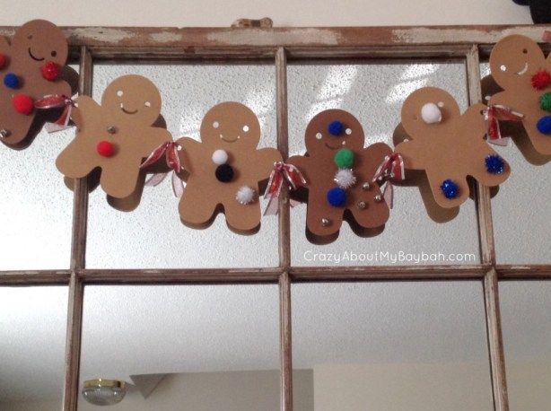 25 Winter and Christmas Crafts for Kids Gingerbread Garland #Toddlers #Preschoolers #Homeschool
