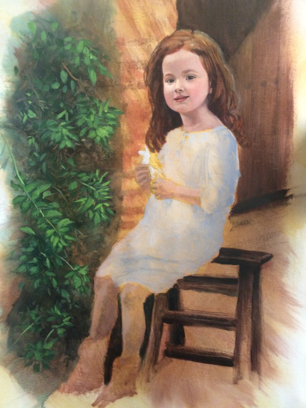 Beautiful portrait painting of a little girl sitting outdoors