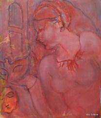 H01 (réservé)- Profil au masque rouge (46 x 38 cm)