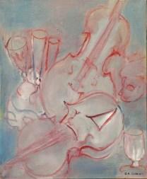 034 - Concerto pour deux violons et flûtes - 46 x 38 cm - 260 €