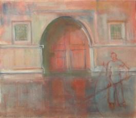 H70 (réservé) - La porte rouge (46 x 55 cm)