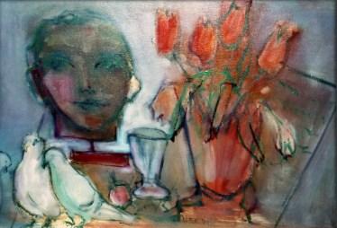 DA - Tulipes rouges avec pigeons 38 x 55 cm03